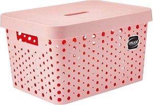 Caixa Organizadora rattan 17L com tampa rosa