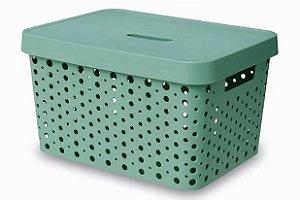 Caixa Organizadora rattan 17L com tampa verde