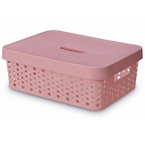 Caixa Organizadora rattan 11L com tampa rosa
