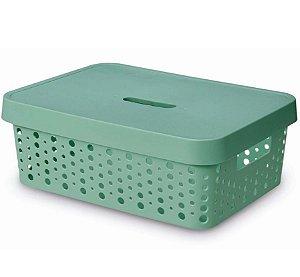 Caixa Organizadora rattan 11L com tampa verde