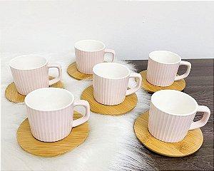 Jogo de xícaras para café decorado com pires 80 ml MZ-93283