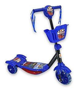 Patinete com som e luz azul - corrida divertida com cesta DMR5026