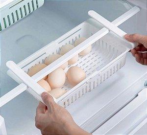 Cesto organizador de geladeira ajustável