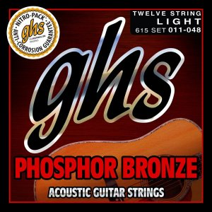 615 - ENC VIOLAO 12 CORDAS ACO PHOSPHOR BRONZE 011/048 - GHS