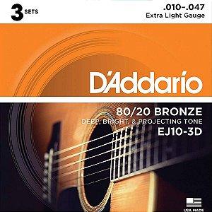 ENCORDOAMENTO VIOLÃO AÇO DADDARIO 010 047 PACK C/ 3 EJ10-3D