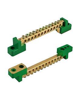 BARRAMENTO DE DISTRIBUIÇÃO HC-004 Neutro (Verde) com 12 Ligações - 80A - S/ Proteção (cabo 10mm) - Fixação por Parafuso