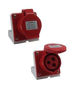 TOMADA DE SOBREPOR  2P+T 9H 380Vca/16A Vermelho IP44