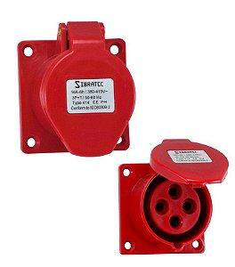 TOMADA DE EMBUTIR - 3P+T 6H 380Vca/16A Vermelho IP44