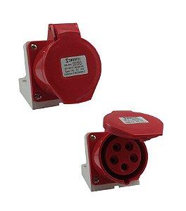 TOMADA DE SOBREPOR - 3P+N+T 6H 380Vca/16A Vermelho IP44
