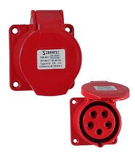 TOMADA DE EMBUTIR - 3P+N+T 6H 380Vca/16A Vermelho IP44