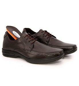 Sapato com cadarço anatômico comfort anti stress de couro