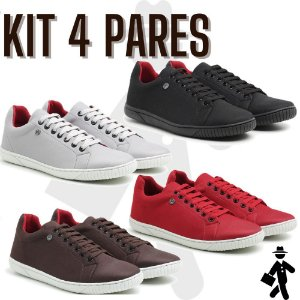 Kit 4 pares de sapatenis casual