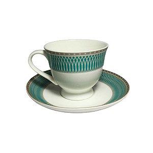 Jogo Xícaras Café Chá Porcelana Irlanda 12 Peças Com Pires