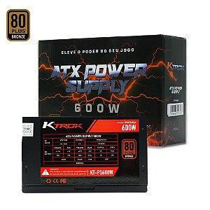 Fonte Gamer Ktrok 600w Real Dual CPU 80 Plus Bronze