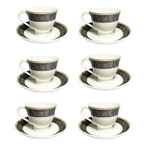 Jogo 6 Xicaras De Porcelana Para Presente Com Pires Turquia