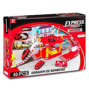 Pista Express Wheels Garagem Bombeiro 40 Peças - Br1235