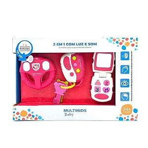 Brinquedo para Bebê com Luz e Som Rosa - Multikids - BR1245
