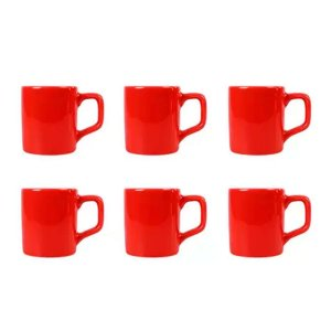 Kit 6 Pcs Xicara de Cafe - 80ML - Vermelho - CAF2008