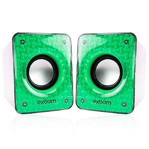 Caixa de som 6w Verde exbom cs-86