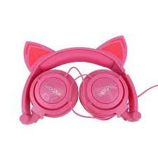 Headphone orelha de gato com led exbom rosa hf-c22rosa