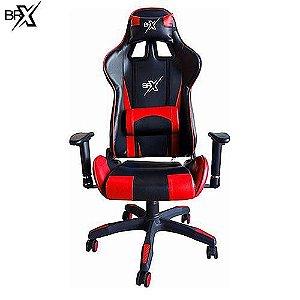 Cadeira Gamer Brx vermelha com encosto reclinável