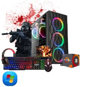 Pc Gamer Megatumi Amd Ryzen R5 3400G, 2x4gb, Hd 500gb, e kit gamer semi-mecânico