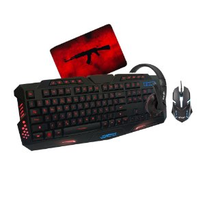 Kit Gamer Blood Headset Mouse Mousepad Rise e Teclado com Led