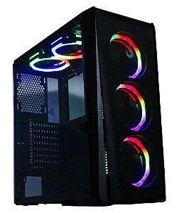 Gabinete Gamer Rise Mode Glass 04 Lateral e Frente de Vidro com 5 Fans RGB - RM-CA-04-RGB