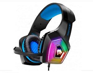 Headset Gamer Led Rgb Com Fio E Microfone Articulado Azul - Gh-X2000