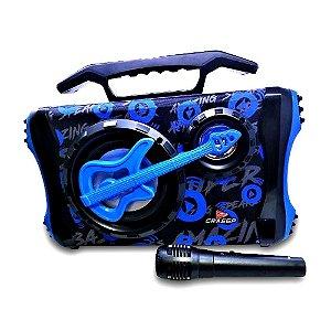 Caixa de som Radiodifusão Grasep + Microfone - Azul