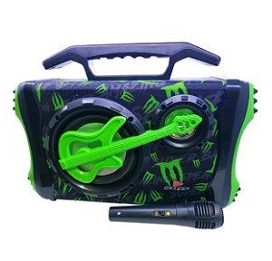 Caixa de som Radiodifusão Grasep + Microfone - Verde