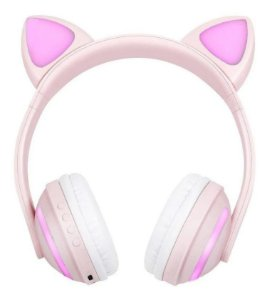 Fone de Ouvido Bluetooth de Gatinho - Rosa