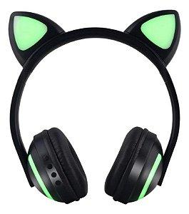 Fone de Ouvido Bluetooth de Gatinho - Preto