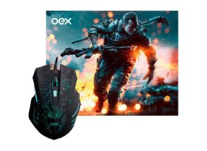 Kit Gamer OEX Stage -Mouse Com LED 7 Cores + Mousepad MC101