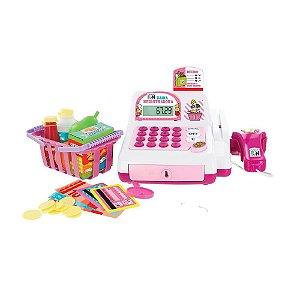 Caixa Registradora Infantil Moeda Cartão Dinheiro - Rosa