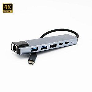 Hub Adaptador Dock Station 6 em 1 USB-C 3.0 4K HDTV RJ45