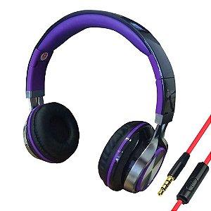 Headfone com Microfone para PC e Smartphone Preto e Roxo