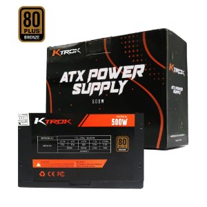 Fonte Gamer Ktrok 500w Real Pfc Ativo 80 Plus Bronze
