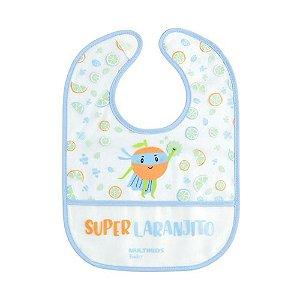 Babador azul Yum! com bolso coletor de migalhas Multikids Baby
