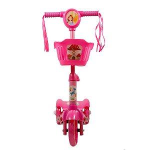 Patinete 3 Rodas Infantil Musical com Luzes até 5 anos Rosa