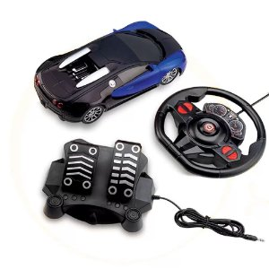 Carro Racing Control Midnight Preto e Azul - Volante e Pedal