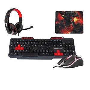 Kit Gamer Dragon Teclado Mouse Headset e Mousepad