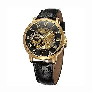 Relógio Masculino 3d Oco Gravura Caso Romano Número Esqueleto