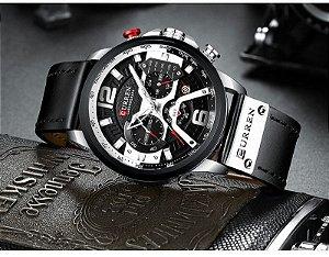 Relógio Masculino Curren CUR8329-BE Original Silver Black Luxo