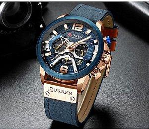 Relógio Masculino Curren CUR8329-BE Original Rose Gold Blue Luxo Lançamento 2019