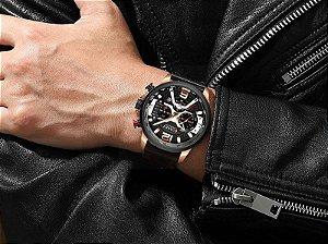 Relógio Masculino Curren CUR8329-BE Original Gold Black Luxo Lançamento 2019