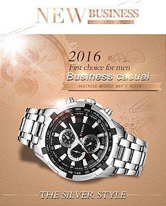 Relógio Masculino Curren 8023 Original Silver Black Luxo Aço Inoxidável