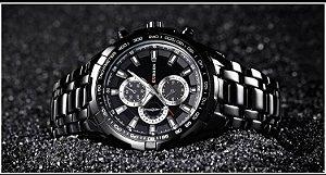 Relógio Masculino Curren 8023 Original Black Black Luxo Aço Inoxidável