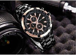 Relógio Masculino Curren 8023 Original Black Golden Luxo Aço Inoxidável