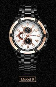 Relógio Masculino Curren 8023 Original Black Golden White Luxo Aço Inoxidável
